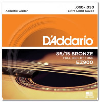 D'Addario EZ900 85/15 Bronze Extra Light Acoustic Guitar Strings 10/50