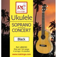 Royal Classics UBSC80 Ukelele Black Soprano-Concert Strings