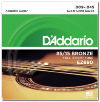 D'Addario EZ890 85/15 Bronze Super Light Acoustic Guitar Strings 9/45