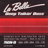 La Bella 760N-B Black Nylon Tape Wound Bass Strings 60/135