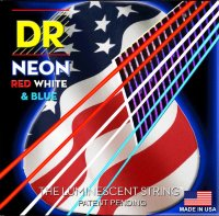 DR NUSAA-11 Hi-Def Neon Red White & Blue K3 Coated Acoustic Guitar Strings 11/50