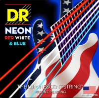 DR NUSAE-10 Hi-Def Neon Red White & Blue K3 Coated Electric Guitar Strings 10/46