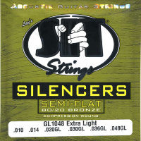 SIT GL1048 Silencer Extra Light 80/20 Bronze Acoustic Guitar Strings 10/48
