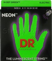DR NGE-9 Hi-Def Neon Green K3 Coated Lite Electric Guitar Strings 9/42