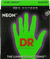 DR NGE-10 Hi-Def Neon Green K3 Coated Medium Electric Guitar Strings 10/46