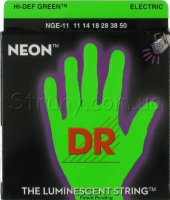 DR NGE-11 Hi-Def Neon Green K3 Coated Heavy Electric Guitar Strings 11/50