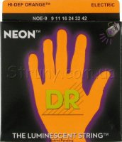 DR NOE-9 Hi-Def Neon Orange K3 Coated Lite Electric Guitar Strings 9/42