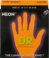 DR NOE-10 Hi-Def Neon Orange K3 Coated Medium Electric Guitar Strings 10/46