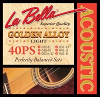 La Bella 40PS 80/20 Golden Alloy Acoustic Guitar Strings Light 12/52