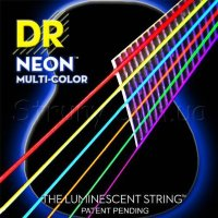 DR NMCA-11 Hi-Def Neon Multi-Color K3 Coated Medium-Lite Acoustic Guitar Strings 11/50
