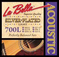 La Bella 700L Silver Plated Acoustic Guitar Strings Light 9/50
