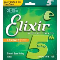 Elixir 15425 Nanoweb Coated Nickel Plated Steel Single Bass String 125 Super Light B