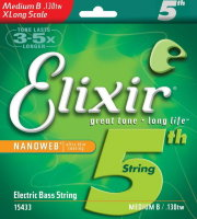 Elixir 15433 Nanoweb Coated Nickel Plated Steel Single Bass String X Long Scale 130 Medium B/TW