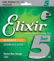 Elixir 14782 Nanoweb Coated Stainless Steel Light Medium Long Scale 5-Strings 45-135