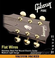 Gibson Flatwires Stainless Steel Flatwound Струны для электрогитары 11/51