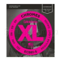 D'Addario ECB81-5 Chromes Flatwound Regular Light Electric Bass Strings 45/132