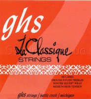 GHS 2300G Ground Nylon Winter Silver Basses Medium High Tension Classical Guitar Strings