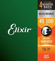 Elixir 14502 Nanoweb Coated 80/20 Bronze Acoustic Bass Strings Light 45/100
