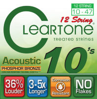 Cleartone 7410-12 Coated Phosphor Bronze Acoustic Guitar 12 Strings Ultra Light 10/47