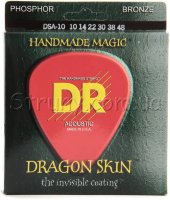 DR DSA-10 Dragonskin K3 Coated Acoustic Guitar Strings 10/48
