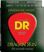 DR DSA-11 Dragonskin K3 Coated Acoustic Guitar Strings 11/50