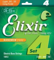 Elixir 14052 Nanoweb Coated Nickel Plated Steel Light Long Scale 4-Strings 45/100