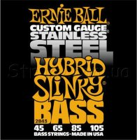 Ernie Ball 2843 Hybrid Slinky Stainless Steel Bass Strings 45/105