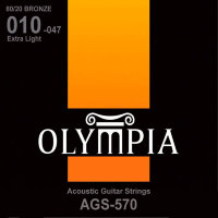 Olympia AGS-570 80/20 Bronze Acoustic Guitar Strings Extra Light 10/47