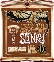 Ernie Ball 3144 Coated Slinky Phosphor Bronze Acoustic Strings 13/56