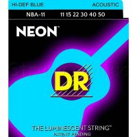 DR NBA-11 Hi-Def Neon Blue K3 Coated Medium-Lite Acoustic Guitar Strings 11/50