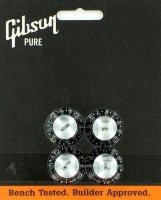 Gibson Tophat Knobs Black / Silver Inserts PRMK-010