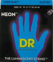 DR NBE-10 Hi-Def Neon Blue K3 Coated Medium Electric Guitar Strings 10/46