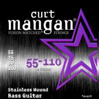 Curt Mangan 42406 Med Plus Stainless Wound Bass Strings 55/110