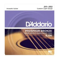 D'Addario EJ26 Phosphor Bronze Custom Light Acoustic Guitar Strings 11/52