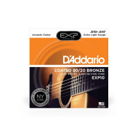 D'Addario EXP10 80/20 Bronze Extra Light Acoustic Guitar Strings 10/47