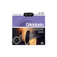 D'Addario EXP13 80/20 Bronze Custom Light Acoustic Guitar Strings 11/52