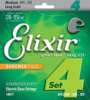 Elixir 14677 Nanoweb Coated Stainless Steel Medium 4-Strings 45/105