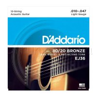 D'Addario EJ36 80/20 Bronze Extra Light Acoustic Guitar 12-Strings 10/47
