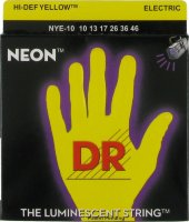 DR NYE-10 Hi-Def Neon Yellow K3 Coated Medium Electric Guitar Strings 10/46