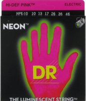 DR NPE-10 Hi-Def Neon Pink K3 Coated Medium Electric Guitar Strings 10/46