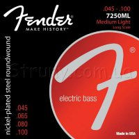 Fender 7250ML Nickelplated Steel Roundwound Medium Lght Bass Strings 45/100