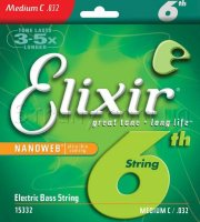 Elixir 14087+15433+15332 Nanoweb Coated Nickel Plated Steel Medium Bass Custom 6 Strings 32/130TW Extra Long