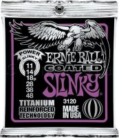 Ernie Ball 3120 Coated Titanium Power Slinky Electric Guitar Strings 11/48