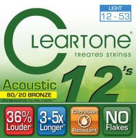 Cleartone 7612 Coated 80/20 Bronze Acoustic Guitar Strings Light 12/53