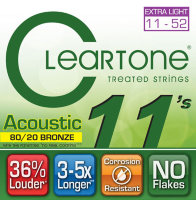 Cleartone 7611 Coated 80/20 Bronze Acoustic Guitar Strings Extra Light 11/52