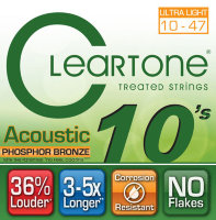 Cleartone 7410 Coated Phosphor Bronze Acoustic Guitar Strings Ultra Light 10/47