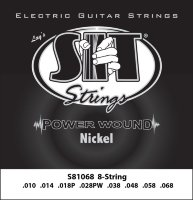 SIT S81068 Eight Power Wound Nickel Electric Guitar Strings 10/68