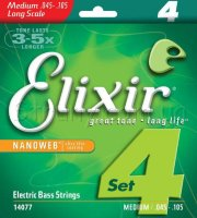 Elixir 14077 Nanoweb Coated Nickel Plated Steel Medium 4-Strings 45/105