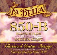 La Bella 850B Elite Black Nylon Golden Alloy Medium