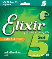 Elixir 14207 Nanoweb Coated Nickel Plated Steel Light-Medium Long Scale 5-Strings 45/135